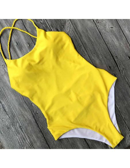 Costum de baie intreg galben, cu spatele gol si snururi rasucite