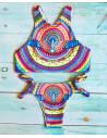 Costum de baie cu imprimeu cu porumbel si curcubeu multicolor