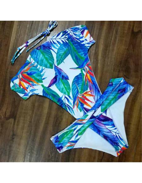 Costum de baie intreg, frunze si flori, legat in talie si la spate