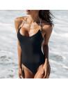 Costum de baie intreg negru, cu spatele gol si snururi albe