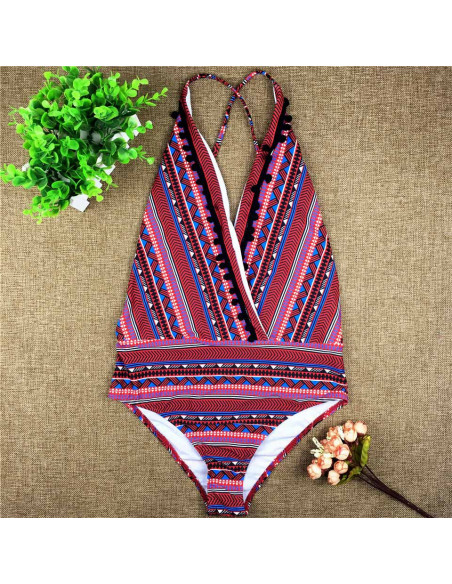 Costum de baie intreg, model tribal geometric, cu canafi rotunzi