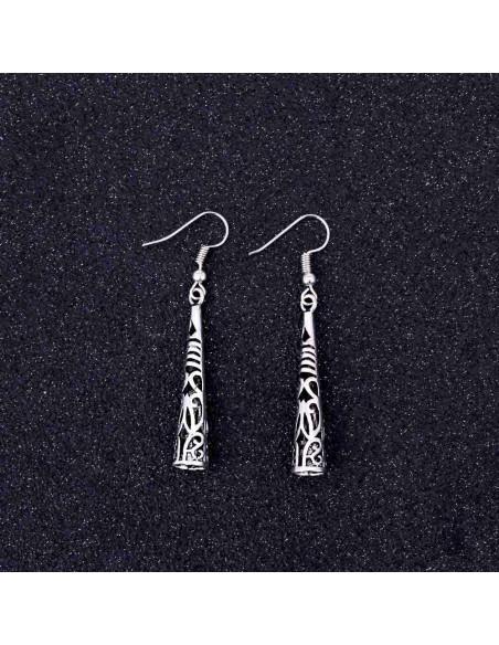Cercei argintii boho chic, conuri lungi cu model tibetan