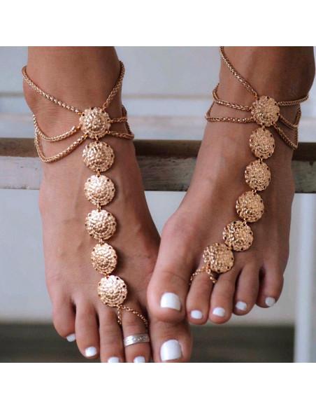 Bratara statement de glezna cu inel, cu 6 medalione florale