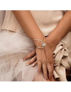 Bratara cu inel eleganta, lantisoare cu bilute si cristale albe
