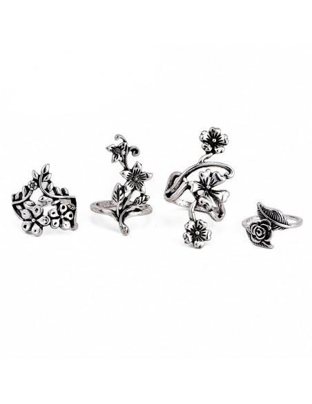Set 4 inele boho chic, model cu flori si frunzulite