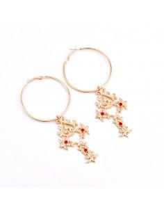 Cercei hula hoops, cercuri cu o cruce inflorata si cristale rosii
