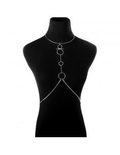 Lant pentru corp, model geometric cu inele si lant in talie