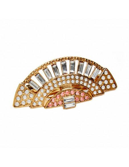 Clama de par eleganta model evantai, cristale albe, roz si perle