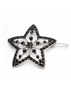 Clama de par boho chic, floare cu cristale negre fatetate