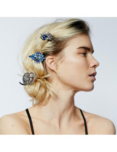 Clama de par Crystal Deluxe, floare albastra cu cristale ascutite
