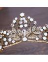 Tiara auriu patinat, Midnight Dragonfly, model floral cu cristale