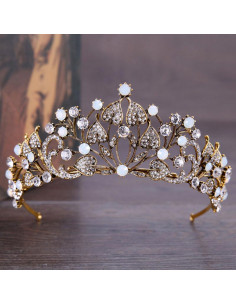 Tiara auriu patinat, Royal Sweetpeas, cu frunze si cristale albe
