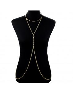 Lant pentru corp statement, cu inel pe gat si margelute metalice