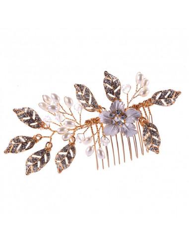 Pieptene de par pentru mireasa, floare alba si frunze cu cristale