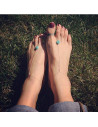 Bratara cu inel pentru picior, lantisor subtire si howlit turcoaz