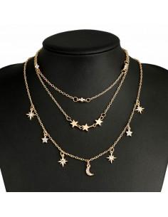 Set de trei coliere minimal, cu stelute metalice, floare si cristale