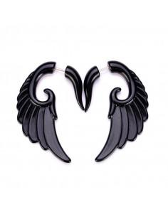 Ear expander fals, model tribal aripa mare din plastic negru