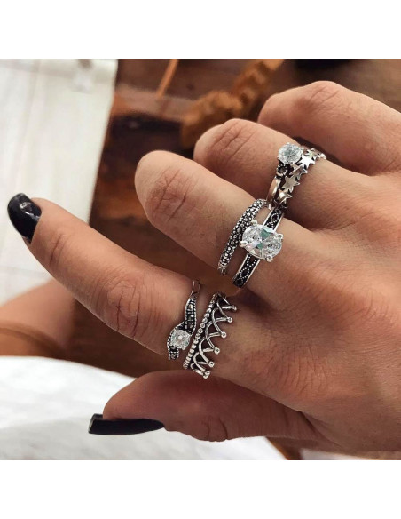 Set 6 inele patinate, subtiri, cu stelute, coronita si cristale stralucitoare