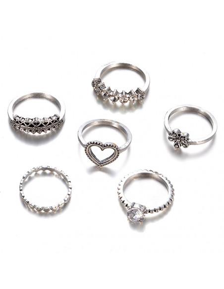 Set 6 inele patinate, subtiri, cu floare, inimioare si cristale albe