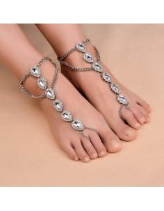 Bratara cu inel de picior, lant  si 6 medalioane cu cristale fatetate