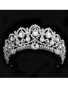 Tiara eleganta Prom Queen, cristale albe picatura si rotunde