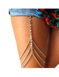 Lant pentru picior cu 3 lantisoare si cristale in suport patrat