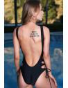 Costum de baie intreg, negru, snururi pe laterale si spatele decoltat