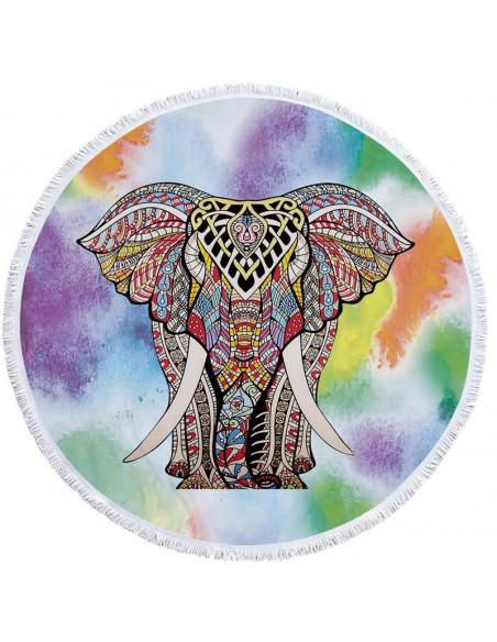 Prosop de plaja gros, cu franjuri, elefant indian pe fundal multicolor