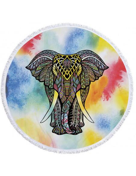 Prosop de plaja gros, cu franjuri, elefant indian pe fundal rosu/galben/albastru