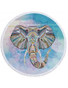 Prosop de plaja gros, cu franjuri, elefant indian pe fundal bleu cu mandala