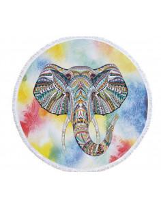 Prosop de plaja gros, cu franjuri, elefant indian pe fundal mandala acuarela multicolor