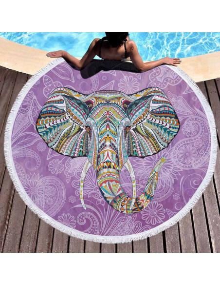 Prosop de plaja gros, cu franjuri, elefant indian pe fundal mov cu inflorituri