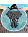 Prosop de plaja gros, cu franjuri, elefant indian pe fundal verde cu inflorituri