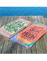 Cearceaf de plaja cu mesaj Sun Moon, franjuri si flori boho