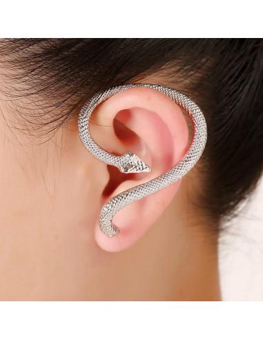 Cercei tip ear cuff, sarpe piton, prindere dubla, pe ureche