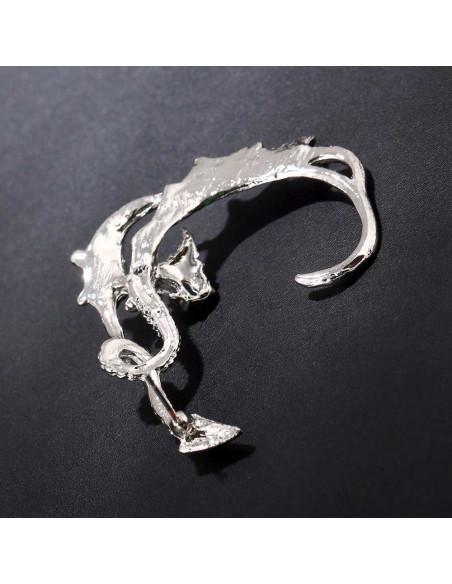 Cercel ear cuff, model cu dragon cu aripi lungi