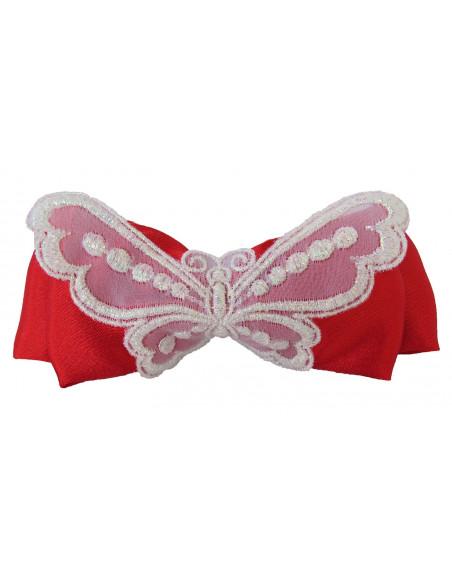 Clama de par funda rosie cu fluture brodat