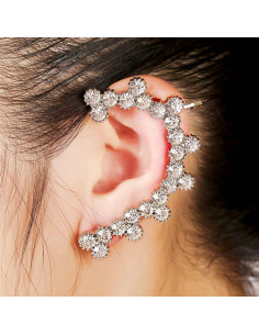 Cercel ear cuff pe toata urechea, cristale rotunde  cu zimtisori