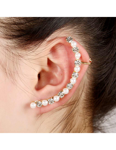 Cercel ear cuff pe toata urechea, cristale rotunde  si perle mici