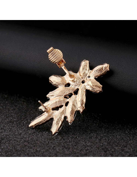 Cercel ear cuff statement, Winter Flower, cu cristale albe ascutite