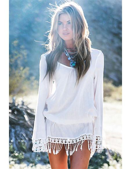 Rochita alba transparenta de plaja, cu elastic in talie si dantela