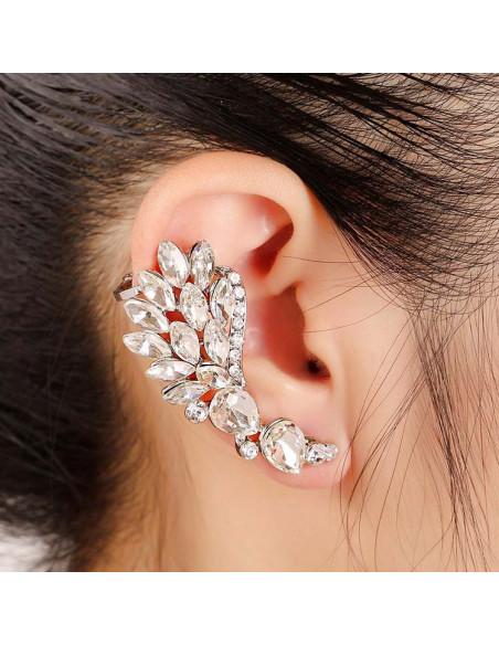 Cercel ear cuff statement, Calla Blossom, cu cristale albe ascutite