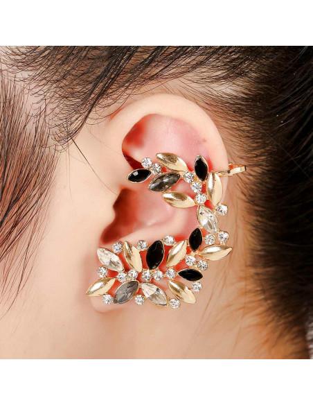 Cercel ear cuff statement, cu cristale albe, negre, gri si metalice