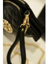 Geanta mica, neagra, model Tory Burch, cu insertie aurie si lant metalic impletit
