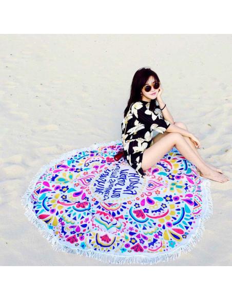 Cearceaf de plaja rotund cu mesaj Sunshine, franjuri si flori