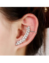 Cercel ear cuff elegant, doua randuri arcuite cu cristale zig zag