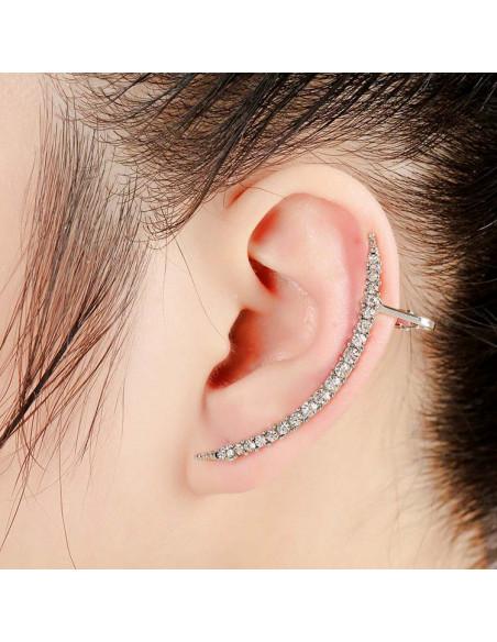 Cercel ear cuff elegant, semiluna minimal cu cristale albe