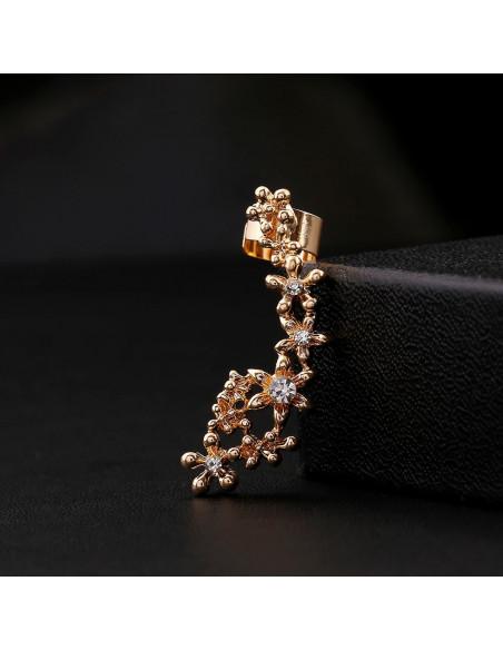 Cercel ear cuff cu flori micute cu cristale pe toata urechea