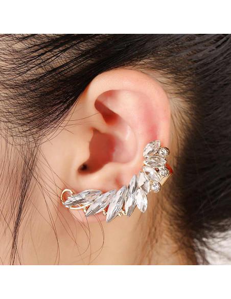 Cercel ear cuff statement, Caterpillar, cu cristale albe ascutite