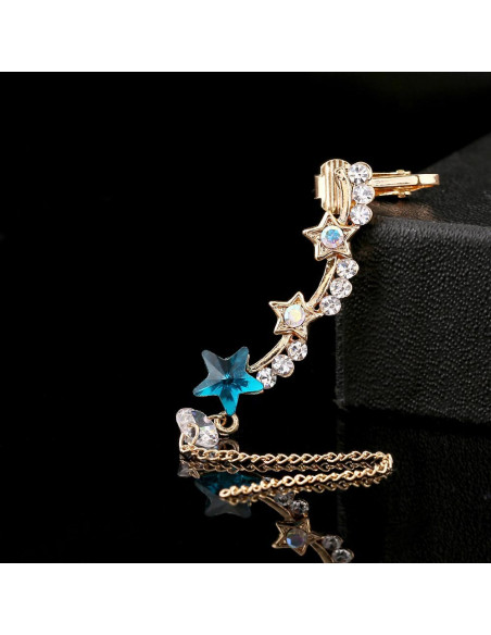 Cercel ear cuff cu stelute, lantisor si cristale albe si albastre
